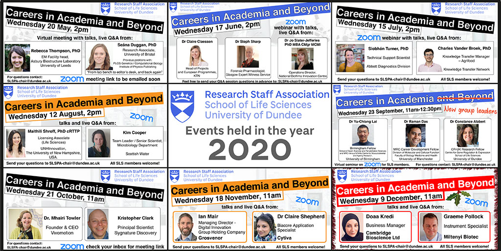 """Careers in Academia and Beyond"" seminar series advertising posters"