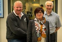 left to right, Professor Kevin Grant, Dr Beatriz Baragaña and Professor Ian Gilbert, all of the Drug Discovery Unit