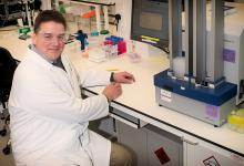Professor David Gray in the DDU Biology Lab. Credit: John Post
