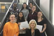 Honours Project Symposium Prizes winners 2019 with Professor Claire Halpin