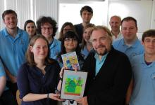 The team with project supporter Brian Cox