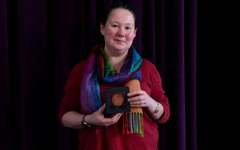Senga Robertson-Albertyn with the RSE Innovator Medal. Credit: Arms & Legs and licensed by RSE.