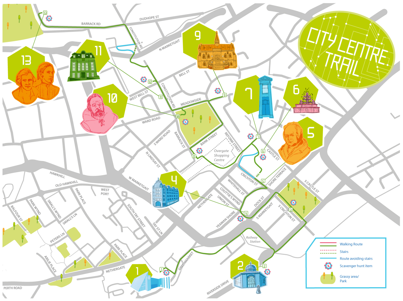 City Centre Map with walking tour route marked